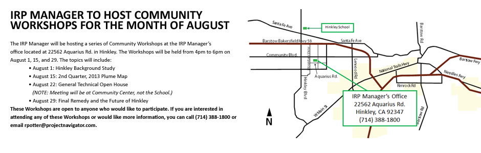IRP Manager to Host Community Workshops for the Month of August