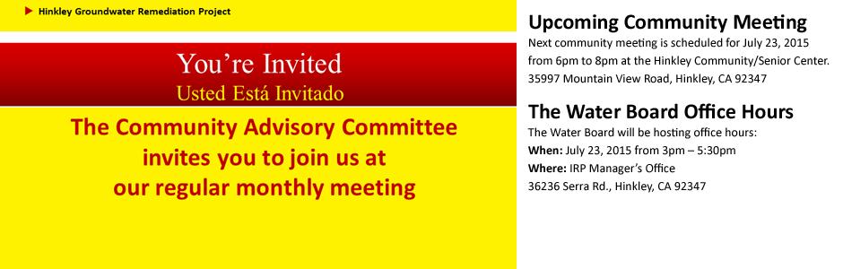 Upcoming Community Meeting