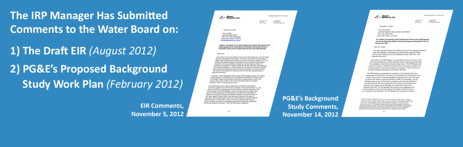 IRP Manager Comments to the Draft EIR and PG&E's Proposed Background Study